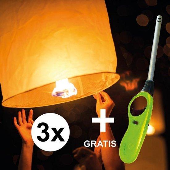 3x wensballon XL - 50 x 100 cm - incl gratis aansteker - wensballonnen