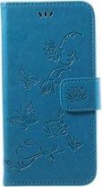 Book Case Hoesje Bloemen Samsung Galaxy J3 (2017) - Blauw
