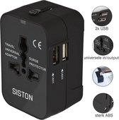 Siston Universele Wereldstekker met 2 USB Poorten – Zwart - Internationale Reisadapter Voor meer dan 150 landen - Engeland (UK) - Amerika (USA) - Australië - Azië - Zuid Amerika - Reisstekker – Reisstekker Reis Adapter