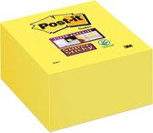 Post-it® Super Sticky Notes, Kubus, Neon geel, 76mm x 76 mm