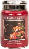 Village Candle Large Jar Geurkaars - Happy Holidays - Rood