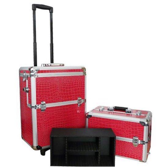 Aluminium visagie/nagel/make-up/cosmetica trolley 3 in 1 croco ROZE / ROOD