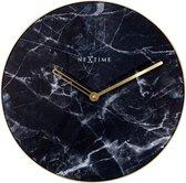 NeXtime Marble - Klok - Glas - Stil Uurwerk - Rond - Ø40 cm - Zwart en Goud