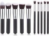 Kabuki Professionele Make-up Kwasten - Kwastenset - Zwart/Zilver - 10 delig