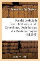 Faculte de droit de Paris. Droit romain: du Concubinat. Droit francais