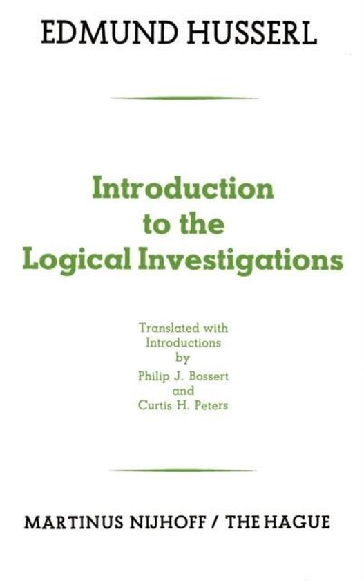 Boek cover Introduction to the Logical Investigations van Edmund Husserl (Paperback)