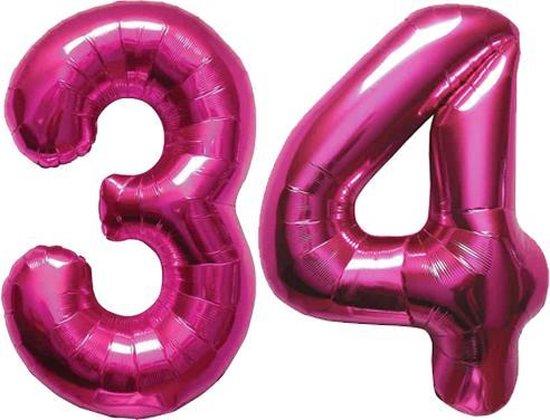 Cijfer 34 Magenta Helium 86 cm Excl. helium