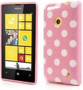 Dots silicone case hoesje Nokia Lumia 520 licht roze