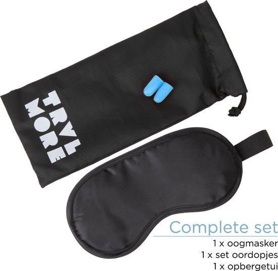 TravelMore Zijden Slaapmasker inclusief Oordoppen - Oog Masker - Nachtmasker - Reismasker - Ooglapje - Oogkapje - Slaapbril - Blinddoek - Voor Ogen - Slapen - Slaap - Yoga - Meditatie - Volwassenen Vrouwen - Mannen - Zwart