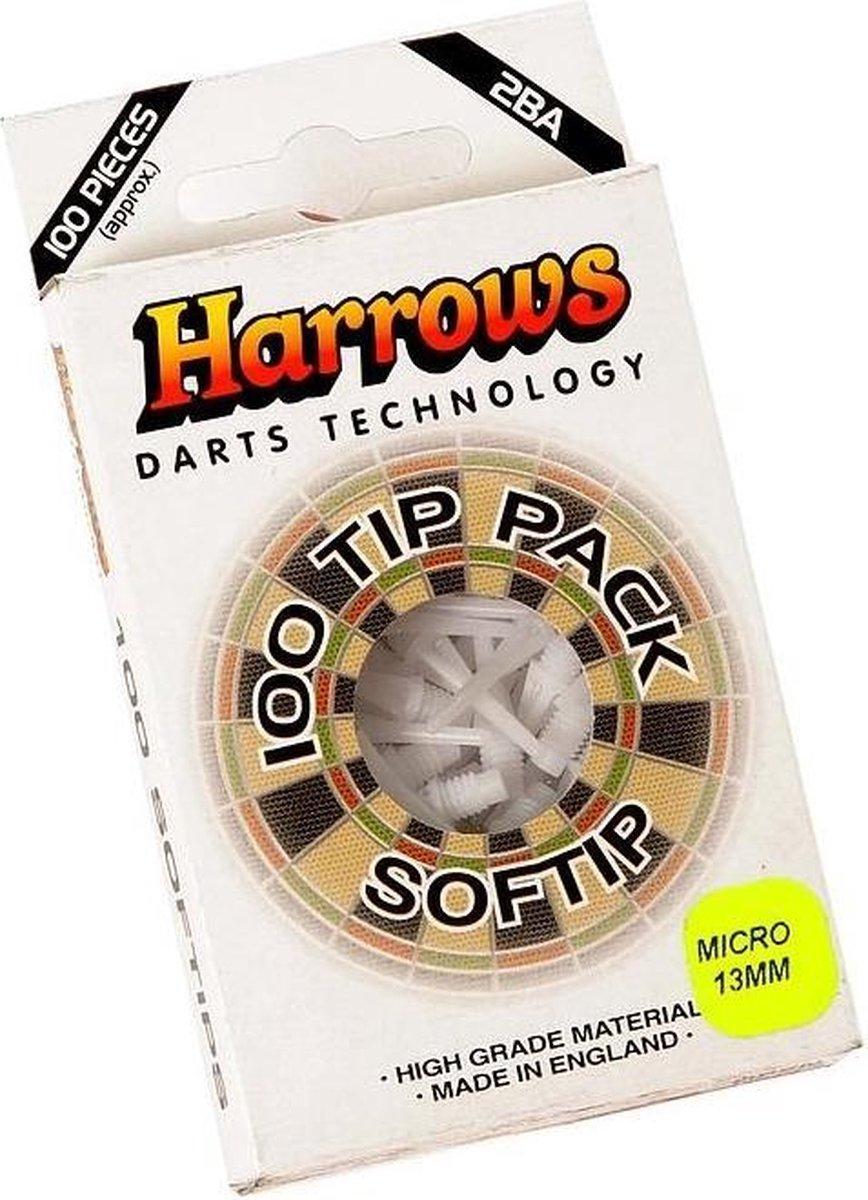 Harrows Softtip punten micro 2ba 100pcs wit
