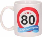 Verjaardag 80 jaar verkeersbord mok / beker