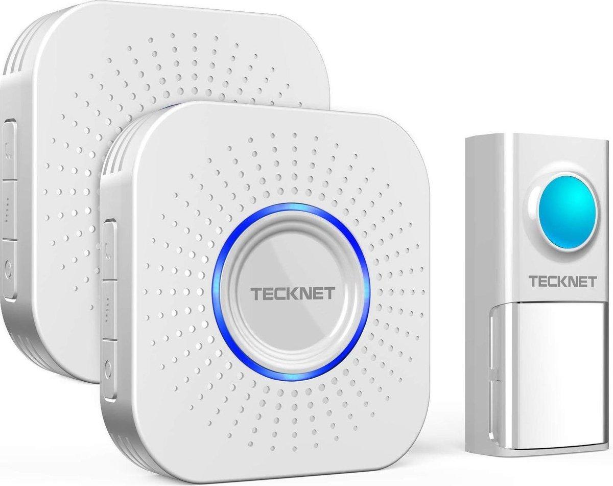TeckNet Draadloze Deurbel met 2 Ontvangers - Plug&Play - Regelbaar Volume / Melodie / Oplichtende LED's - WA1088 wit - Tecknet