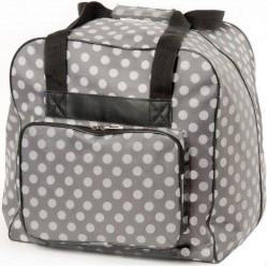 Lockmachine tas. Vouwtas voor lockmachines in licht grijs met witte polkadots