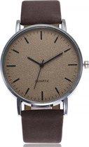 Stone Dark Brown Quartz Horloge | Bruin | PU Lederen Band | Fashion Favorite