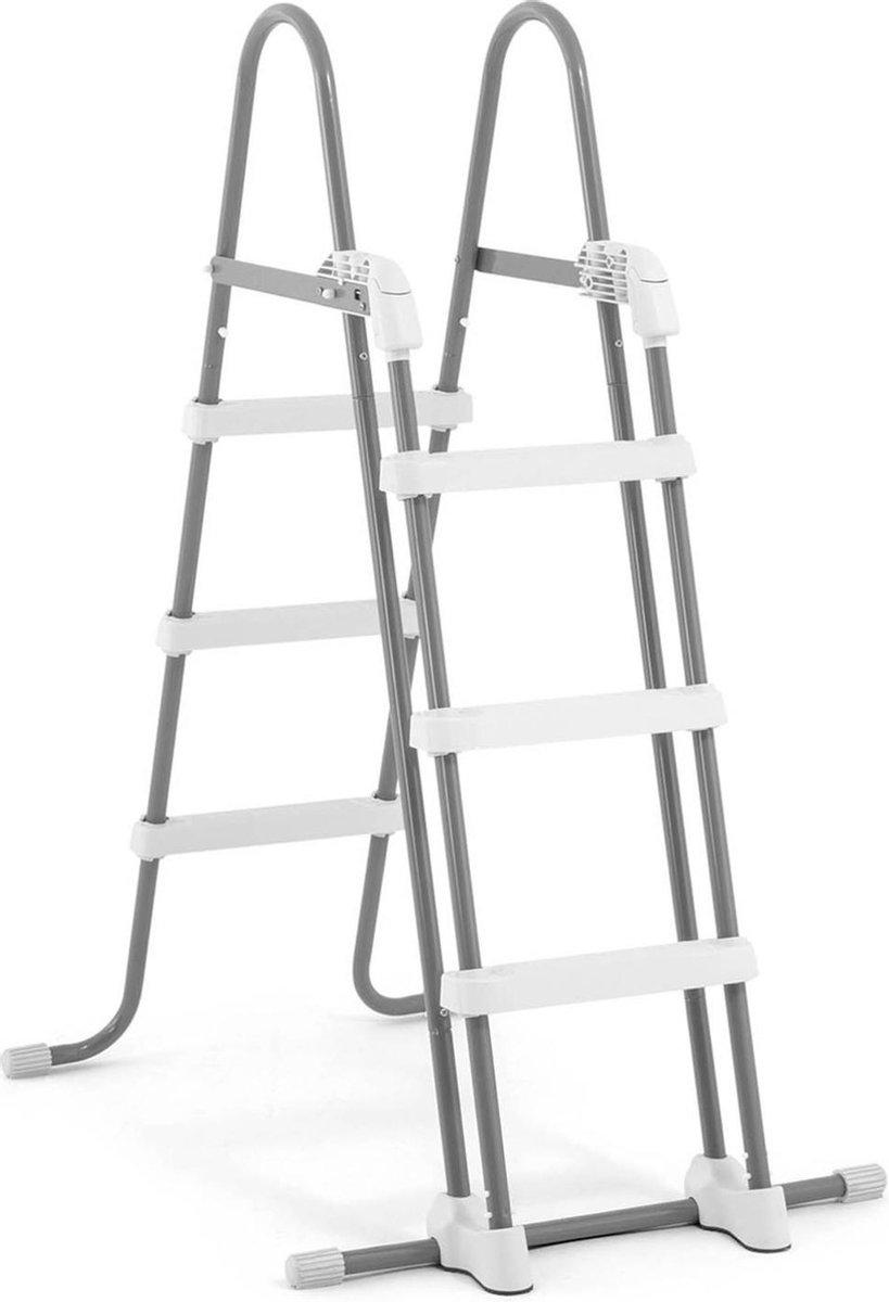 Intex Zwembadladder Zilver/wit 107 cm voor Opzetzwembaden - Zwembadaccessoires