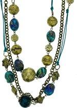Behave® Vintage Lange Ketting met Blauwe Glaskralen - Antiek goud look – lengte 62 cm + 4
