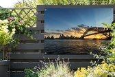Zonnestralen over de brug van Sydney Tuinposter 180x120 cm - Tuindoek / Buitencanvas / Schilderijen voor buiten (tuin decoratie) XXL / Groot formaat!