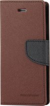 Let op type!! MERCURY GOOSPERY FANCY DIARY for iPhone 6 Plus & 6s Plus Cross Texture Horizontal Flip Leather Case with Card Slots & Wallet & Holder(Brown)
