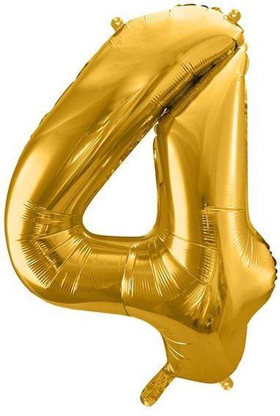Folie ballon nummer 4, 86cm, goud