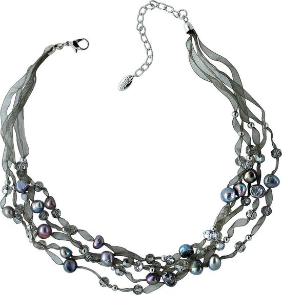 Behave ® - korte ketting dames grijs blauw met organza lint en zoetwater parels
