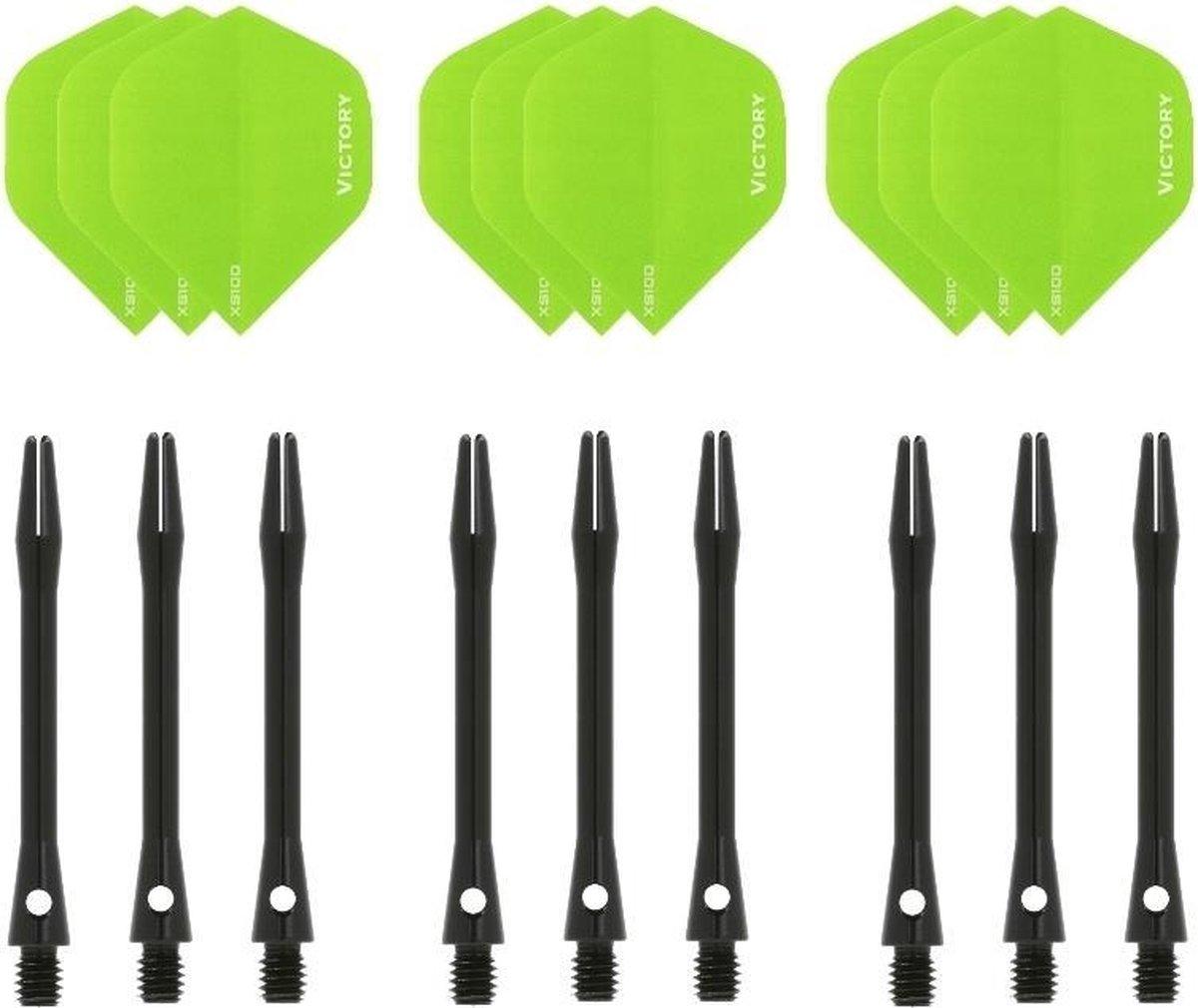 Dragon darts - 3 sets - XS100 Poly - Groen - Darts flights - plus 3 sets - aluminium - darts shafts - zwart - medium