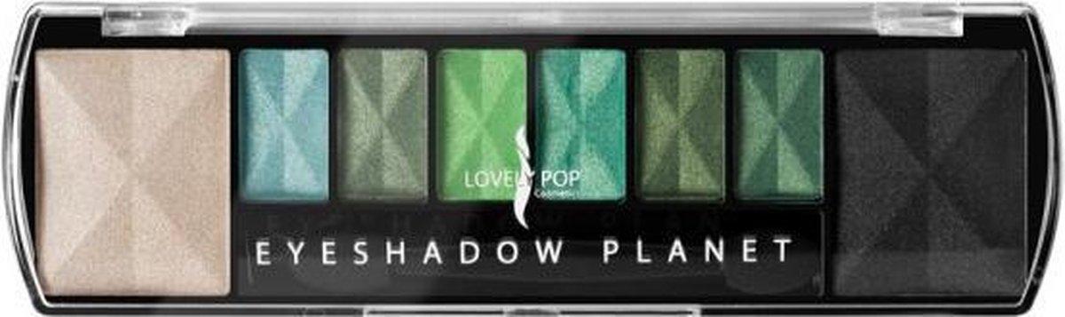 Lovely Pop Cosmetics - Oogschaduw Palette - Planet Earth - met lange applicator - 8 kleuren: wit / blauw / groen / zwart - 1 doosje met 9 gram inhoud - afmeting doosje: 14,7 x 4,4 centimeter - Lovely Pop Cosmetics
