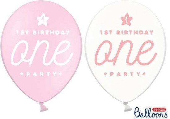 Ballonnen One roze/wit (50 stuks)