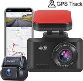 T8 Dual Dashcam voor auto voor en achter - Dashboard camera - 4K Full HD - GPS - WIFI