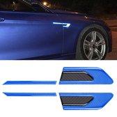 2 stks carbon auto-styling spatbord reflecterende bumper decoratieve strip, externe reflectie + innerlijke koolstofvezel (blauw)