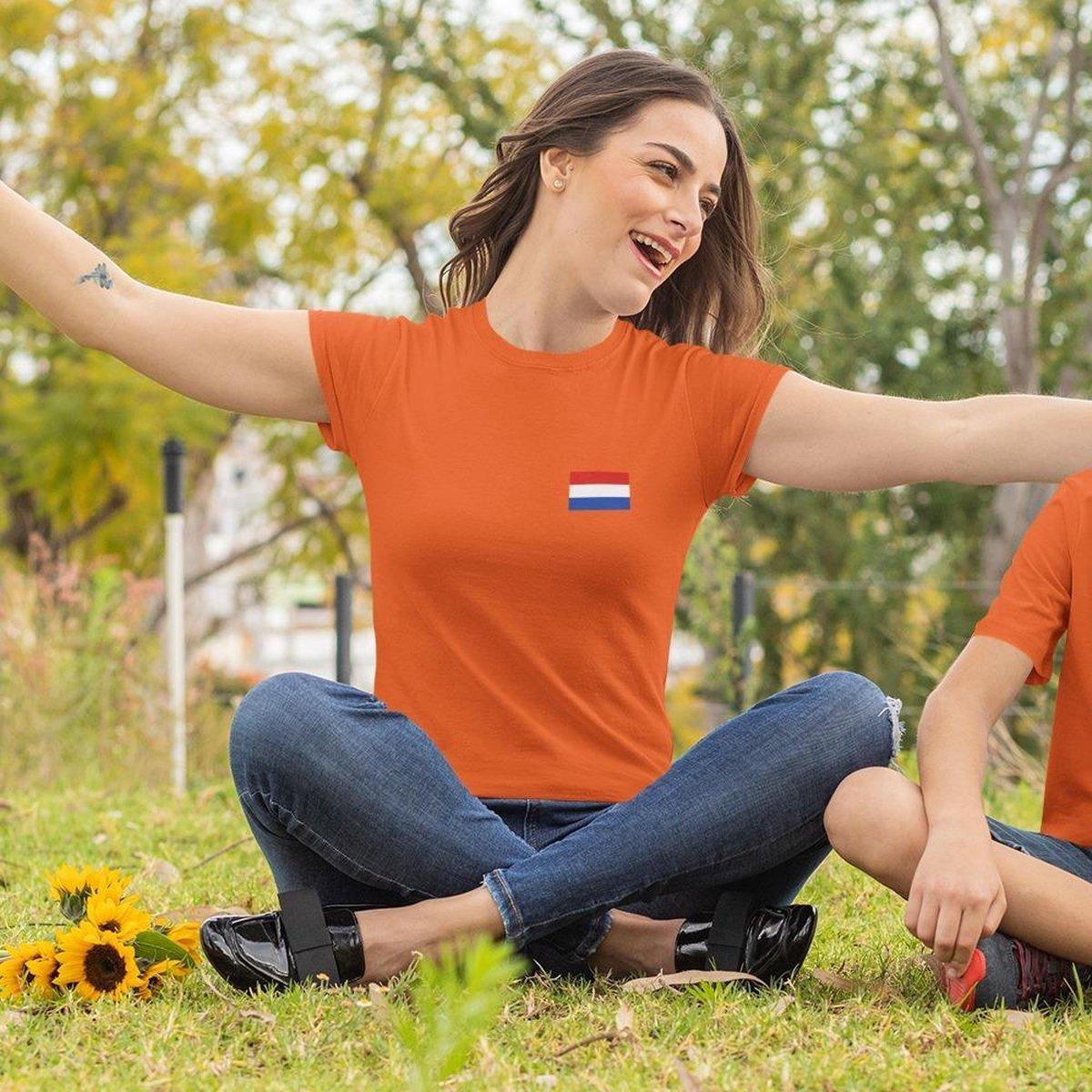EK WK & Koningsdag T-Shirt Nederlandse Vlag (DAMES - MAAT M)   Oranje Kleding   Feestkleding