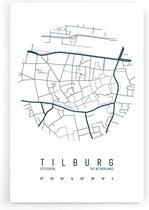 Stadskaart Tilburg Centrum IV - Walljar - Wanddecoratie - Poster
