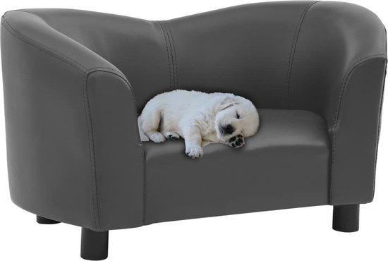 Hondenbank 67x41x39 cm kunstleer grijs