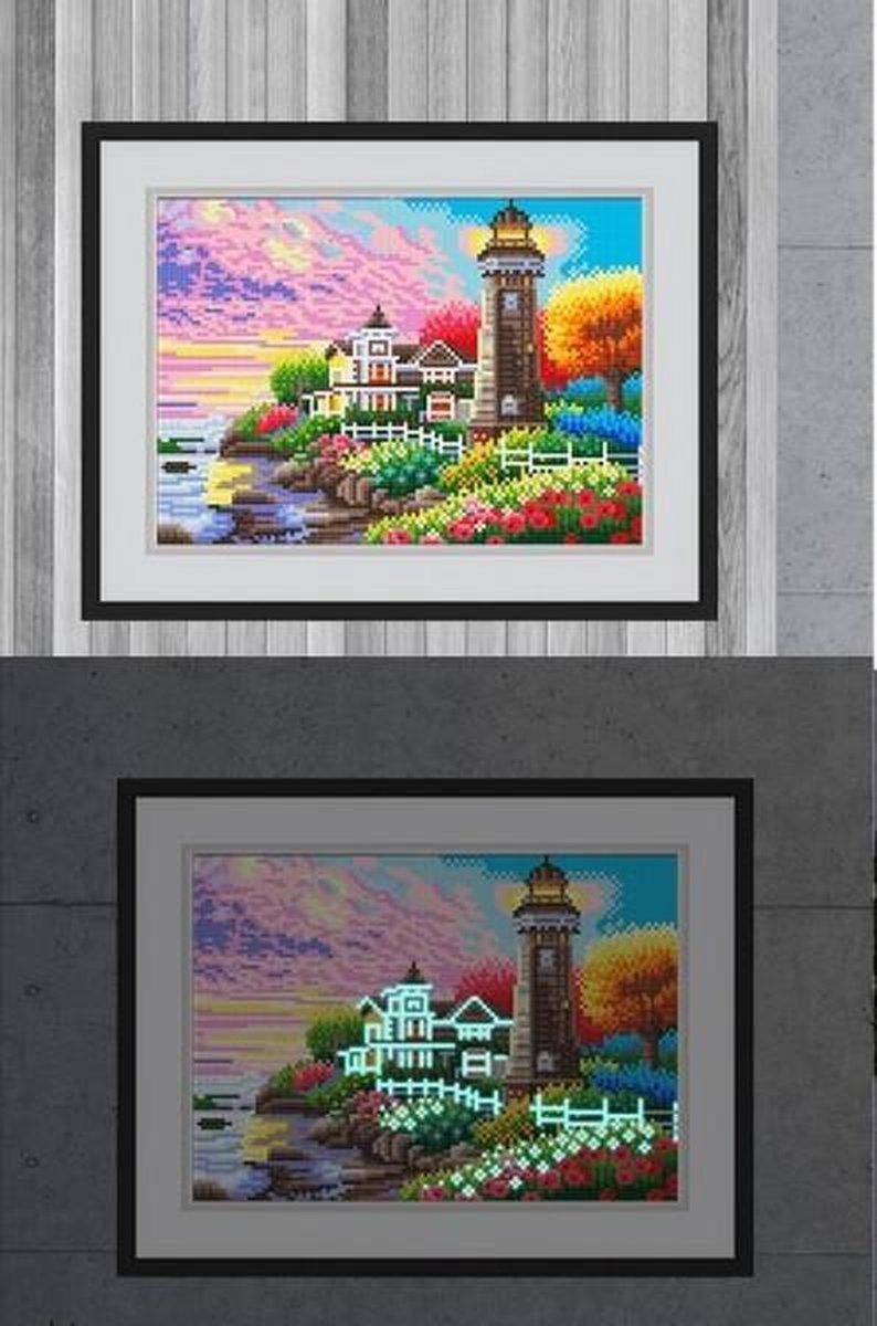 Glow In The Dark Diamond Painting Volwassenen/Kinderen - Ronde Steentjes - Volledig Pakket - Hobby - Landschappen - Vuurtoren aan de kleurrijke kust 35x25cm
