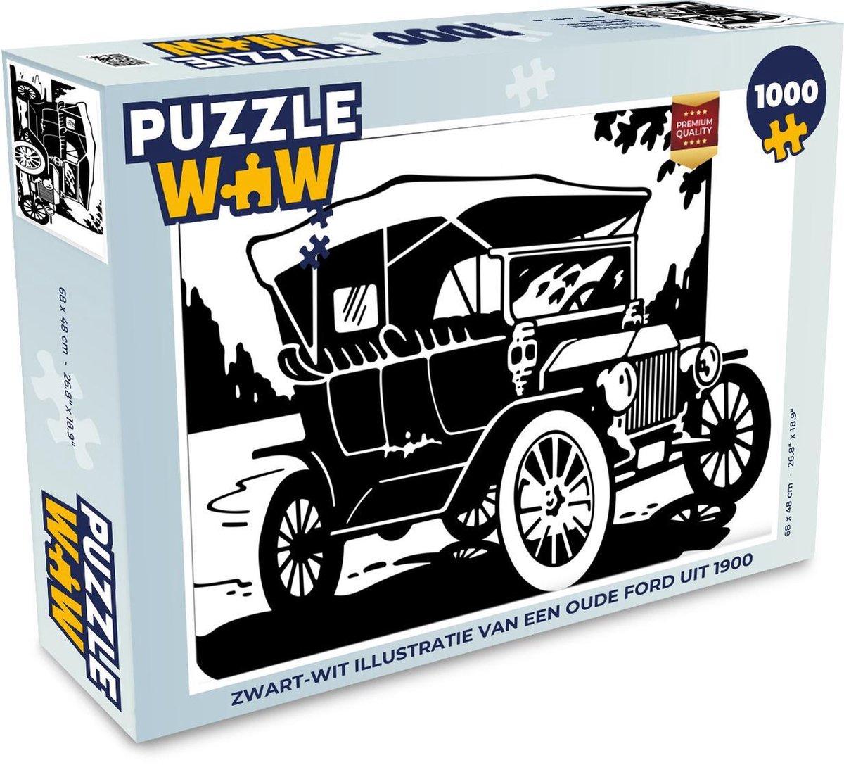 Puzzel 1000 stukjes volwassenen Oude ford auto's illustratie 1000 stukjes - Zwart-wit illustratie van een oude Ford uit 1900  - PuzzleWow heeft +100000 puzzels