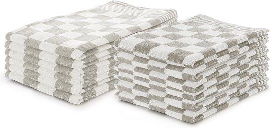 Theedoeken en Keukendoeken set Zand - Set van 12 - Geblokt - Blokdoeken - 100% katoen - 6 Theedoeken 65x65 - 6 keukendoeken 50x50