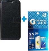 Motorola Moto E6i / E6 Plus hoesje book case + 2 stuks Glas Screenprotector zwart