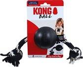 Kong hond Extreme rubber Ball met touw zwart, large