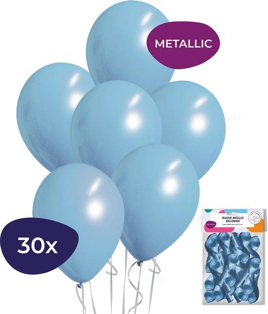 Blauwe Ballonnen - Metallic Ballonnen - Helium Ballonnen - Geboorte Versiering Jongen - 30 stuks