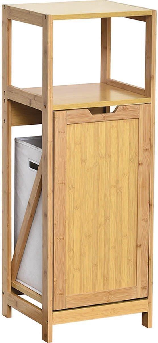 Badkamerkastje - Bijzetkastje - Badkamermeubel - Bamboe en MDF - Naturel - Natuurlijke Look - Strak Design - 36x33x98cm