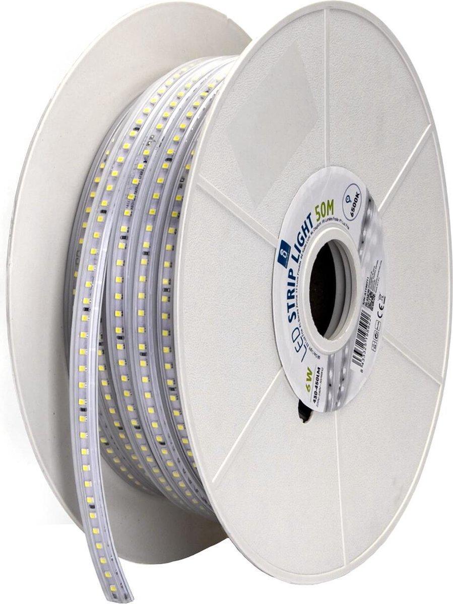 LED Strip - Igna Stribo - 50 Meter - Dimbaar - IP65 Waterdicht - Helder/Koud Wit 6500K - 2835 SMD 230V