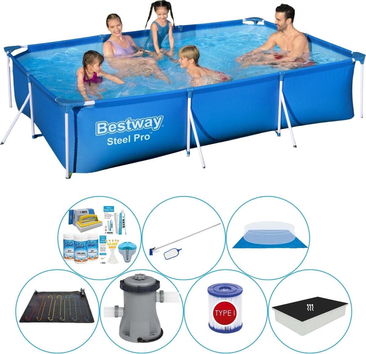 Bestway Steel Pro Rechthoekig Zwembad - 300 x 201 x 66 cm - Blauw - Met Accessoires - Voordeelpakket