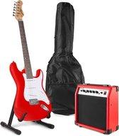 Elektrische gitaar - Johnny Brook JB404 elektrische gitaar starterset met rode gitaar, 20W gitaarversterker, gitaarstandaard en accessoires