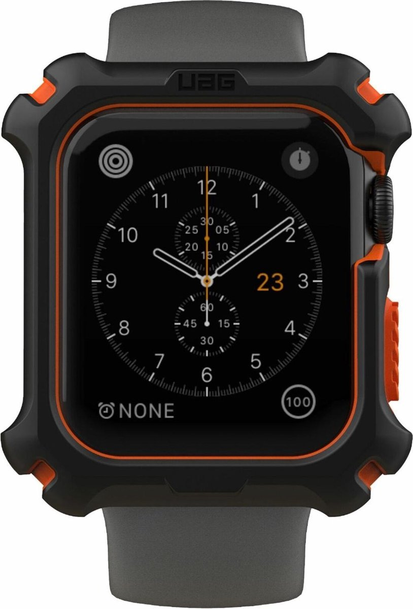 Afbeelding van product Urban Armor Gear  UAG Rugged Hardcase voor de Apple Watch 44 mm - Zwart / Oranje