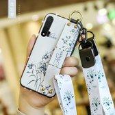 Voor Huawei Nova 6 Floral Doekpatroon Shockproof TPU Case met houder & polsband & nek Lanyard (wit)
