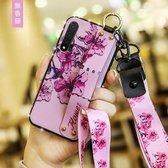 Voor Huawei Nova 6 Floral Doekpatroon Shockproof TPU Case met houder & polsband & nek Lanyard (paars)