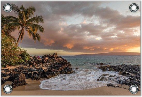 Tuinposter –Hawaï Strand met Ondergaande Zon– 60x40 Foto op Tuinposter (wanddecoratie voor buiten en binnen)