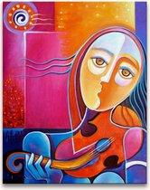 Handgeschilderd schilderij Olieverf op Canvas - Pablo Picasso 'Josephine met Gitaar'