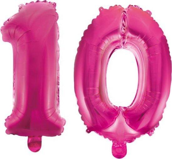 Folieballon 10 jaar roze 86cm