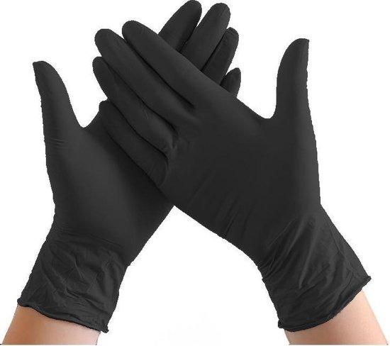 Afbeelding van Handschoenen Wegwerp Nitril - Latex vrij - poedervrij -Zwart - Maat M - 100 stuks