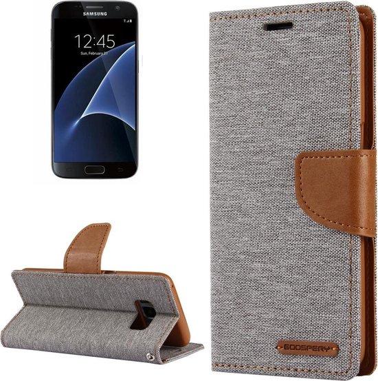 GOOSPERY CANVAS DAGBOEK voor Samsung Galaxy S7 canvas textuur horizontale flip lederen tas met kaartsleuven en portemonnee en houder (grijs)